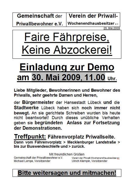 Dieser Flyer mit Aufruf zur nächsten Demo wurde heute auf dem Priwall verteilt. SCAN: <b>TA</b>