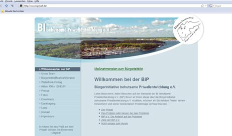 Die Website der BiP. Screenshot: <b>TA</b>