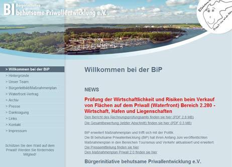 Die BiP hat den Waterfront-Bericht des Rechnungsprüfungsamtes auf ihrer Website veröffentlicht. Screenshot: <b>TA</b>