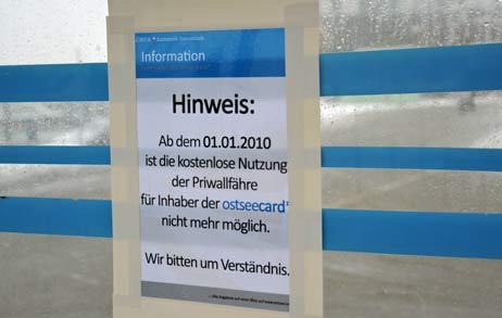 Seit 1. Januar ist es vorbei mit den Freifahrten auf OstseeCard. Und mit den Umsätzen auf dem Priwall. Foto: <b>ARCHIV TA</b>