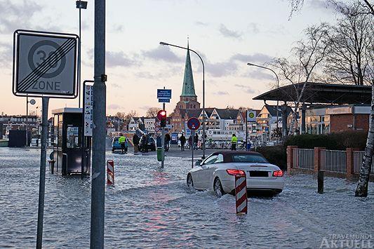 Hochwasser auf dem Priwall am 02. Januar 2018. Foto: <b>JS</b>